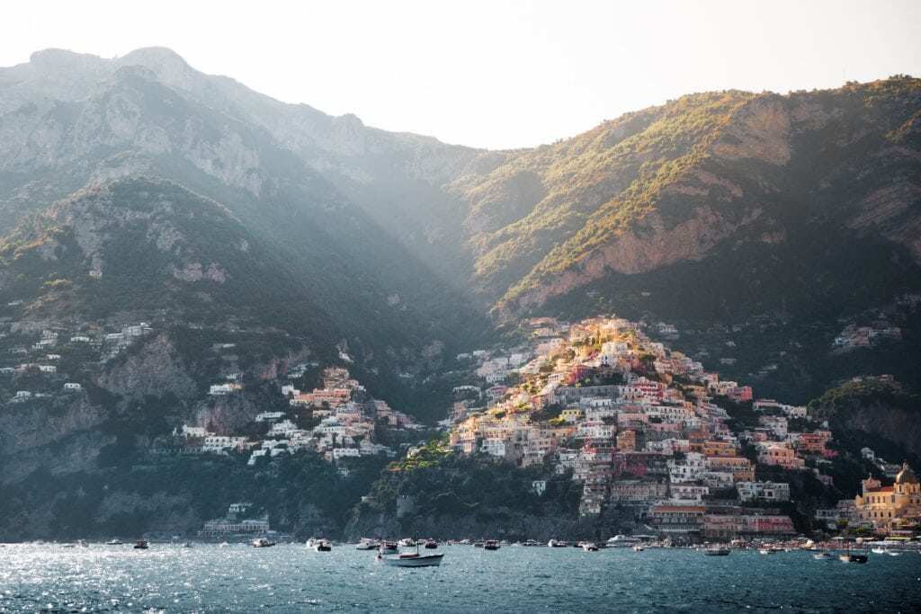View of Positano from the sea - One of the most beautiful elopement locations in Italy