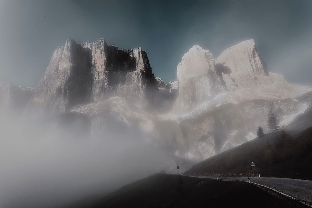 Foggy vision of Italian Dolomites - One of the most beautiful elopement locations in Italy
