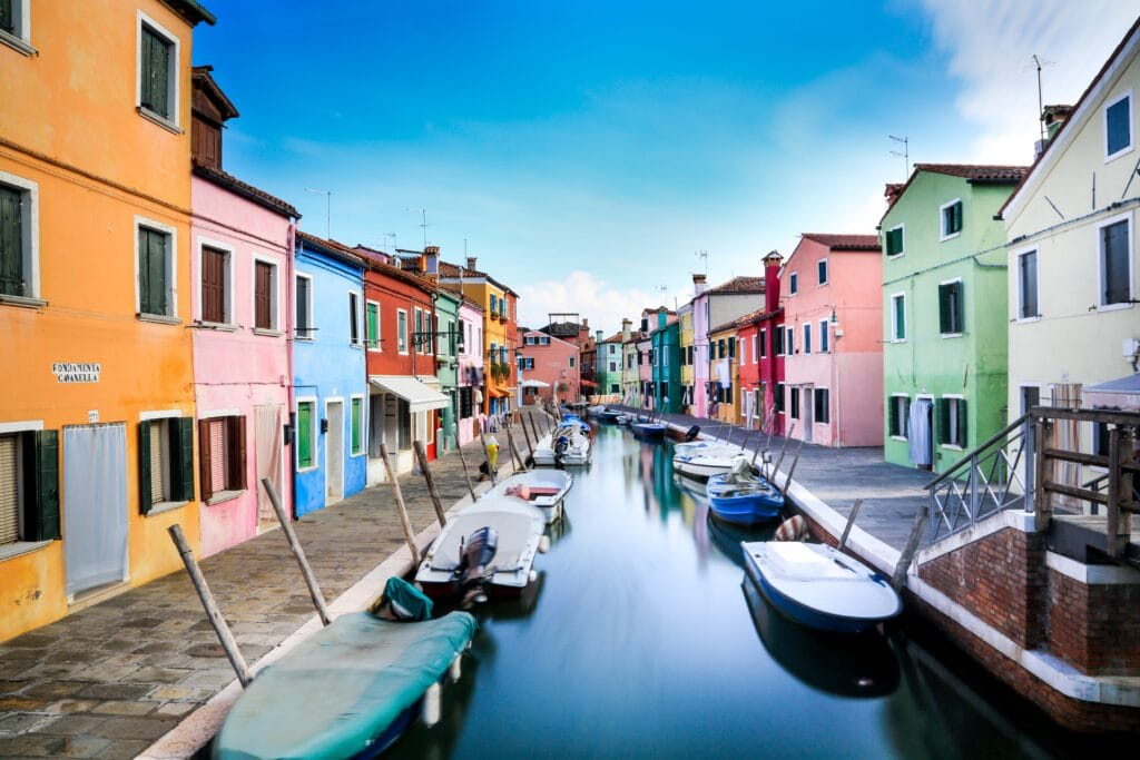 Colorful houses at Burano near Venice