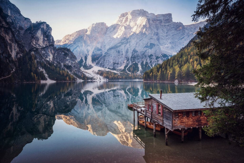 Braies Lake view - One of the most beautiful elopement locations in Italy