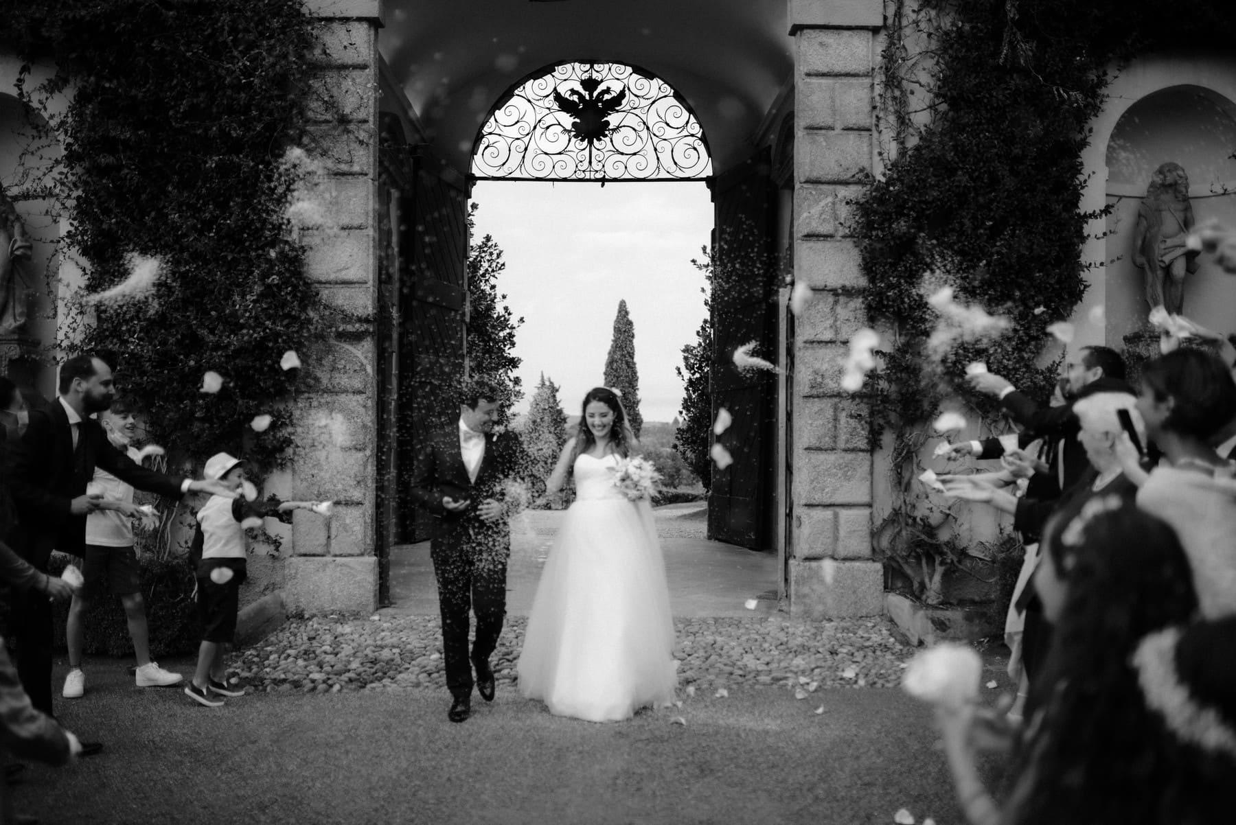 End of wedding ceremony at Villa Orsini Colonna
