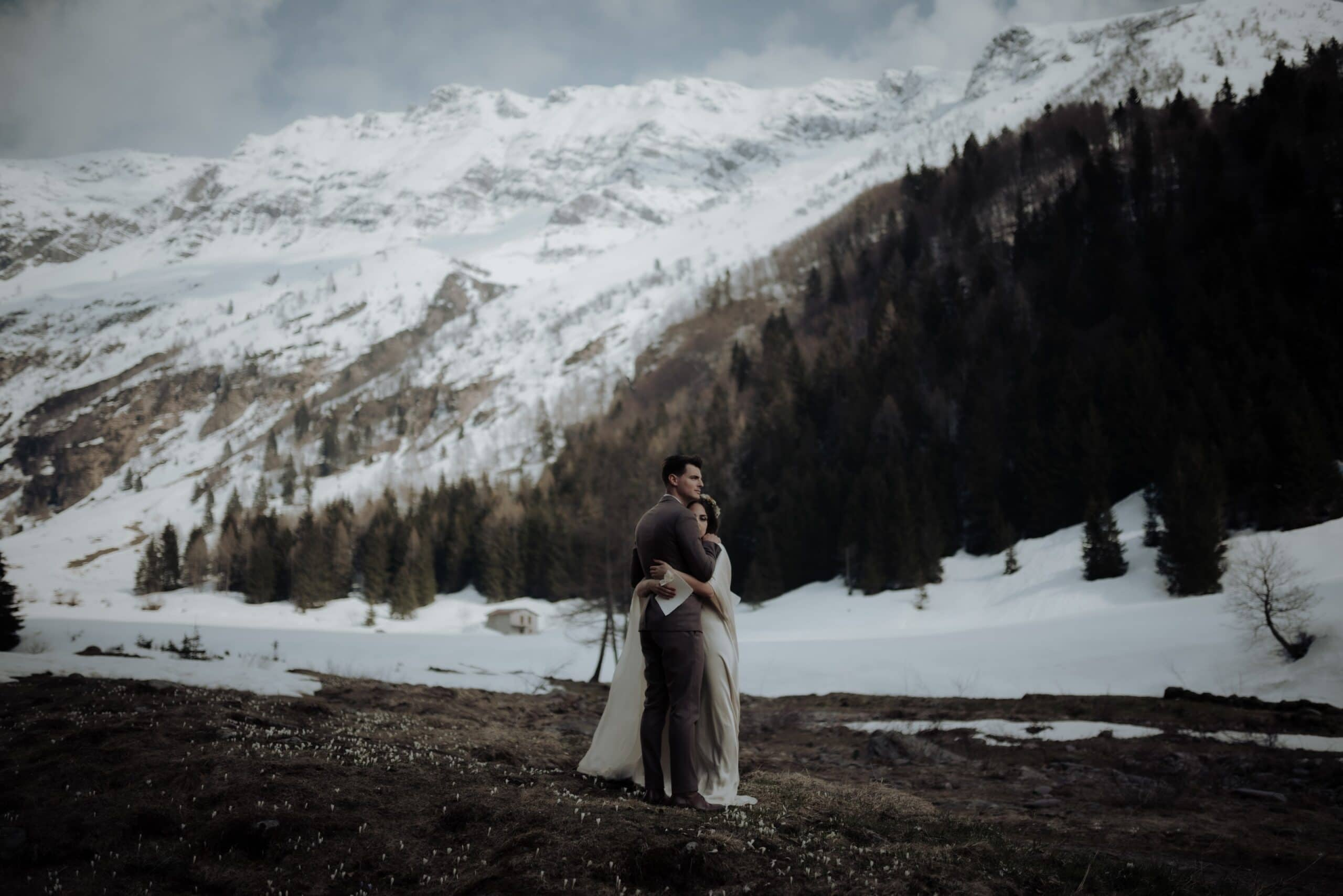 Bride and Groom during their Italian Alps Wedding