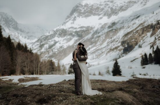 Bride and Groom hugging during their Alps Mountain Wedding in Italy